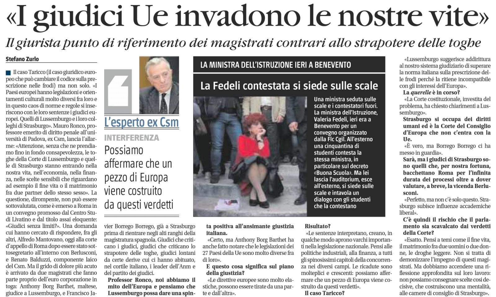 Intervista a Mauro Ronco sul convegno Giudici senza confini?