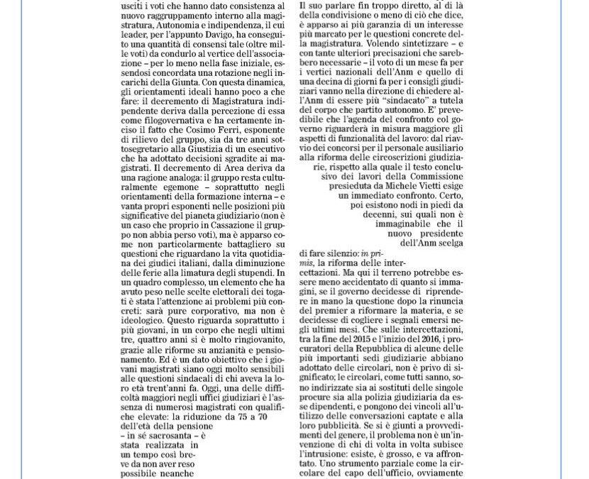 Questioni concrete e poca ideologia dietro l'elezione di Davigo a capo dell'Anm
