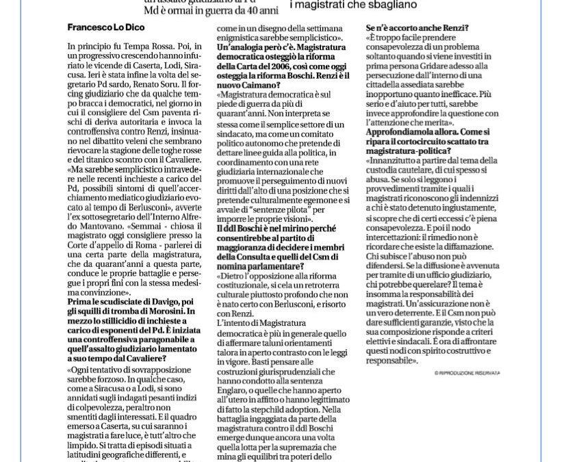 Mantovano: riecco le toghe rosse va riformata la custodia cautelare